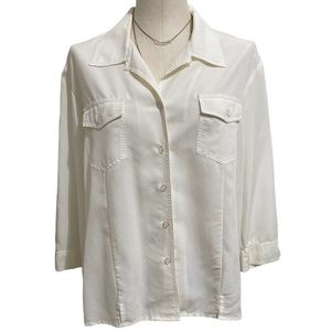 Ladies WHITE STAG Arctic White Polynosic Rayon Long Sleeve Button Up